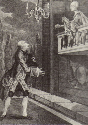 Spranger Barry and Maria Isabella Nossiter in a Covent Garden production of Shakespeare's Romeo and Juliet in 1759.