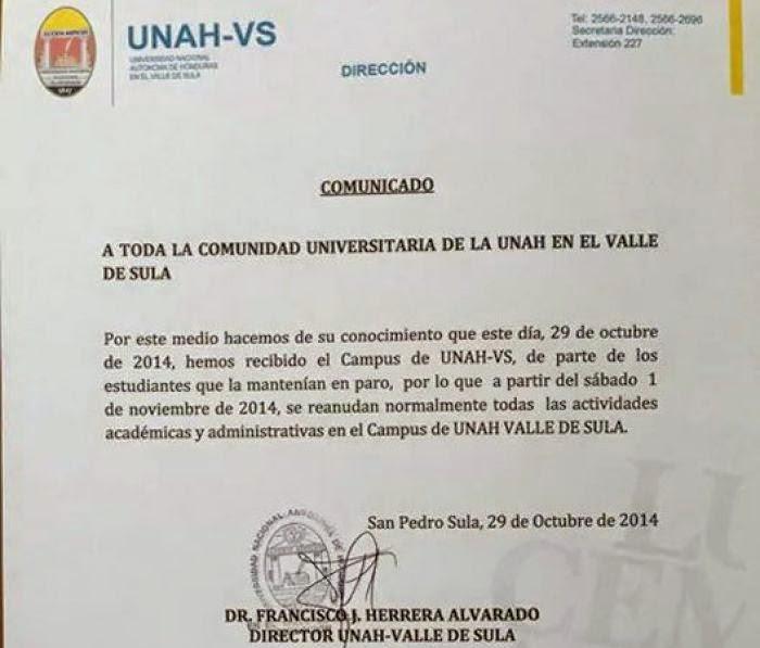 HONDURAS TIERRA LIBRE: Honduras: Tras 16 días en paro, estudiantes ...