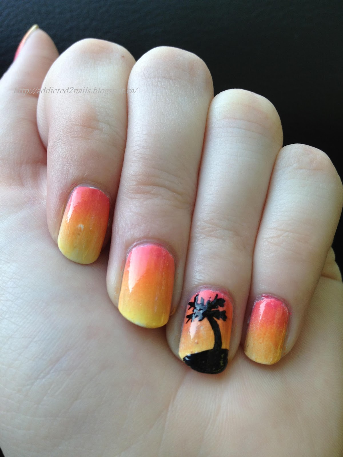 Only 45 More Days Till Hawaii I M Dying Here Haha Hawaiian Themed Nail Art Will Hold Me Over Until We Leave Used Sally Hansen S Mellow Yellow And
