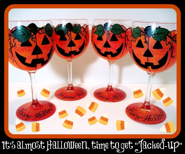 Hand painted jack-o-lantern wine glass set