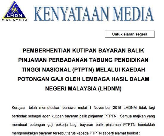Bayaran Balik PTPTN Potongan Gaji Dihentikan 1 November 2015