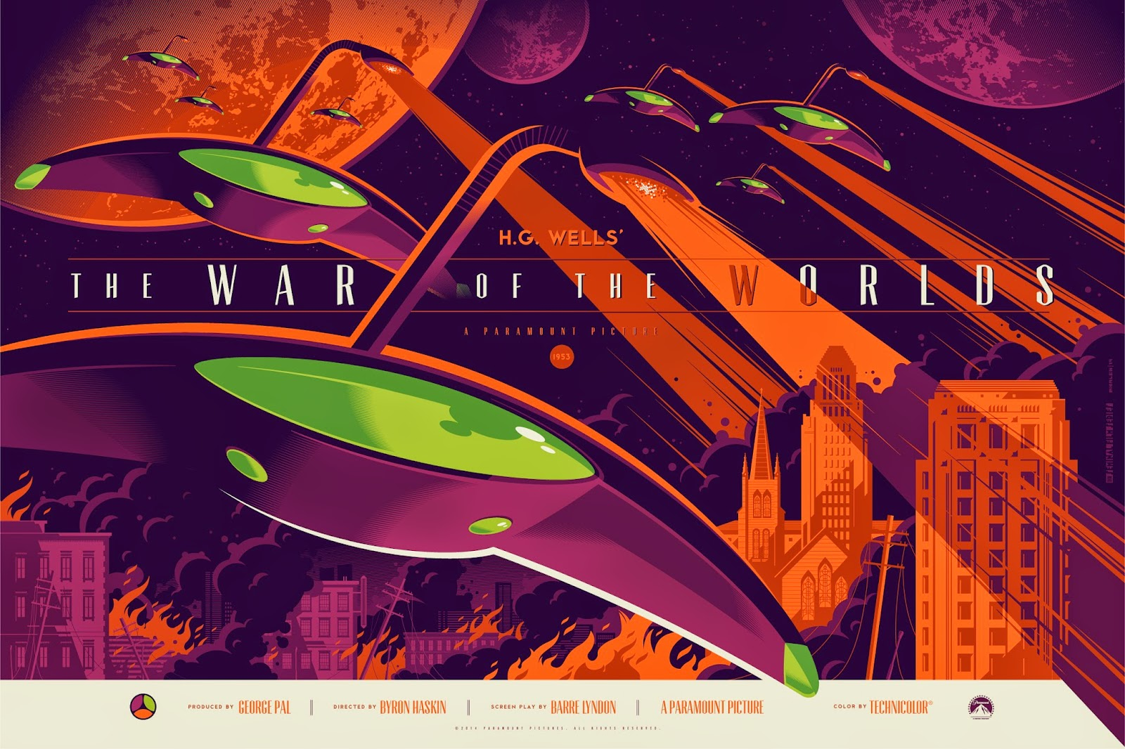 The War of the Worlds Standard Edition Screen Print by Tom Whalen