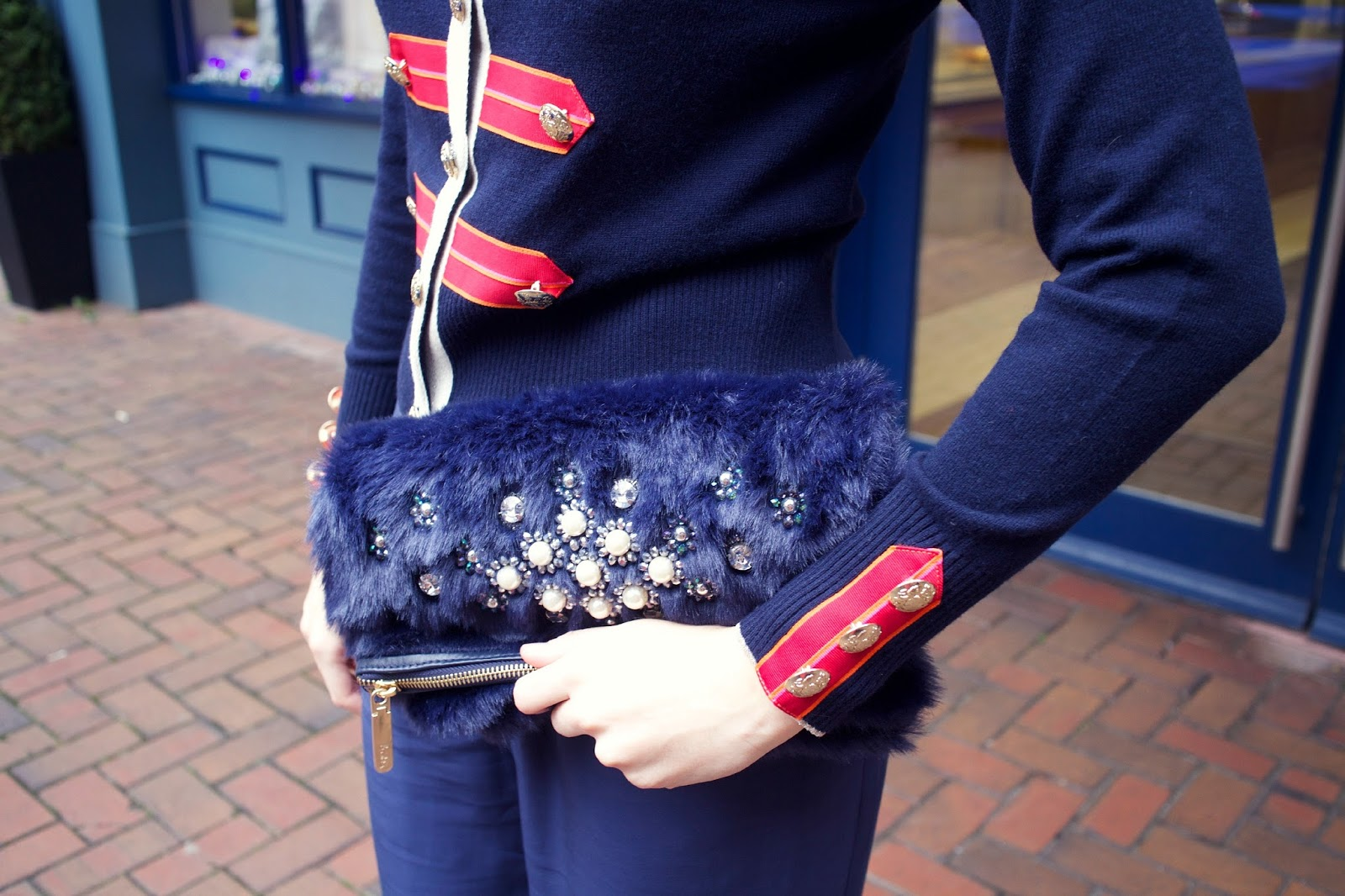 boden icons royal couple cardigan and embellished clutch