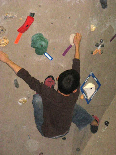 youth climber bouldering