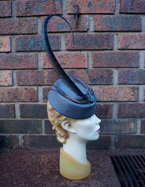 Grey vintage-style straw hat by Tanith Rowan Designs
