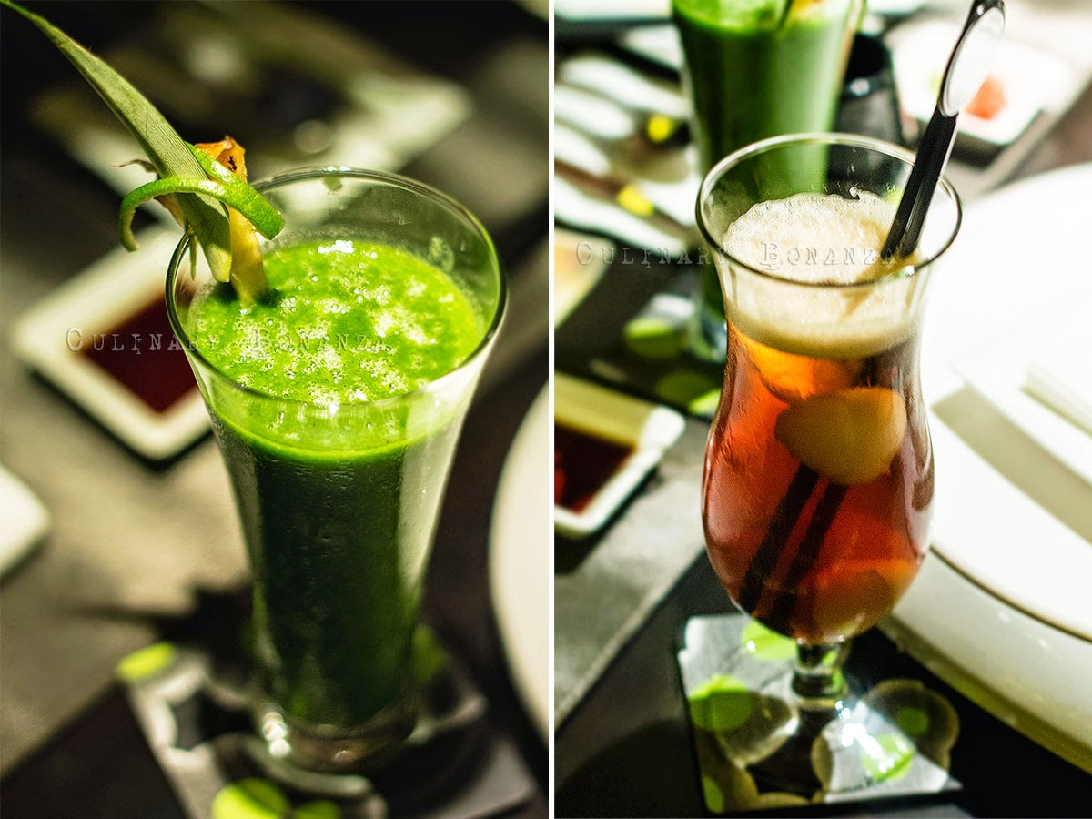 Left: Healthy Juice - mix of vegetable & fruits | Right: Lychee Iced Tea