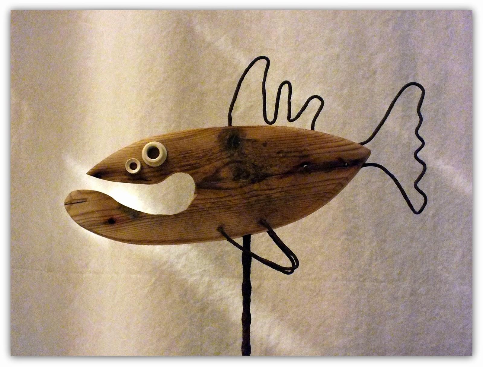 o'fishl, poisson en bois flotté et métal, réversible ! | mutoz inc