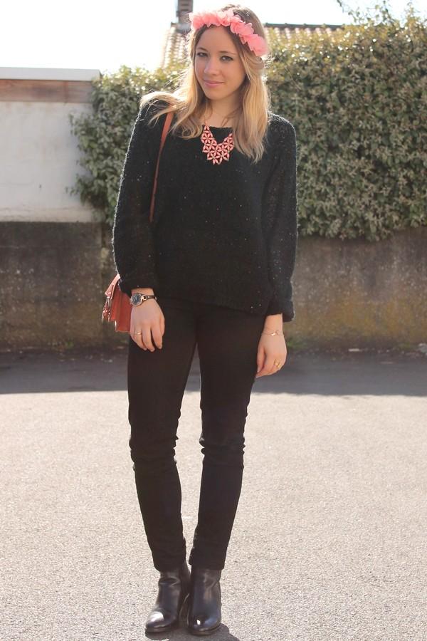 Look pantalon pull noir