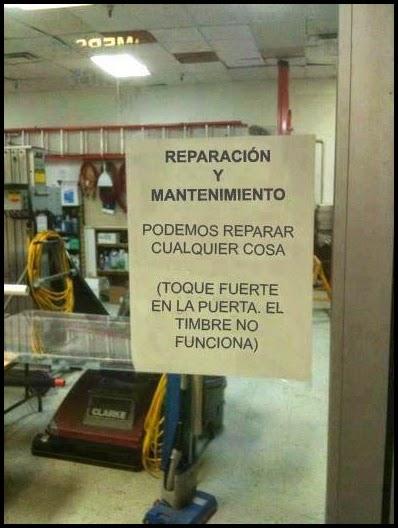 Cartel de oficina de reparacion y mantenimiento.