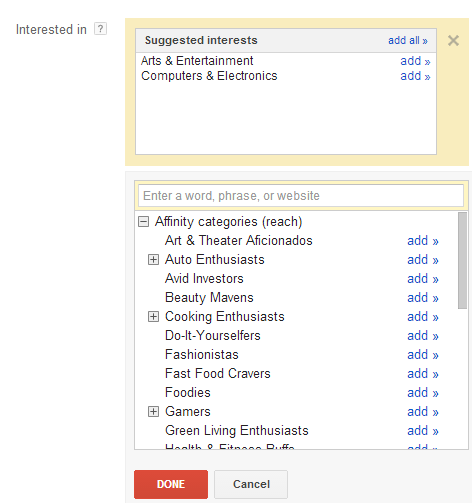 Suggested Interests Window