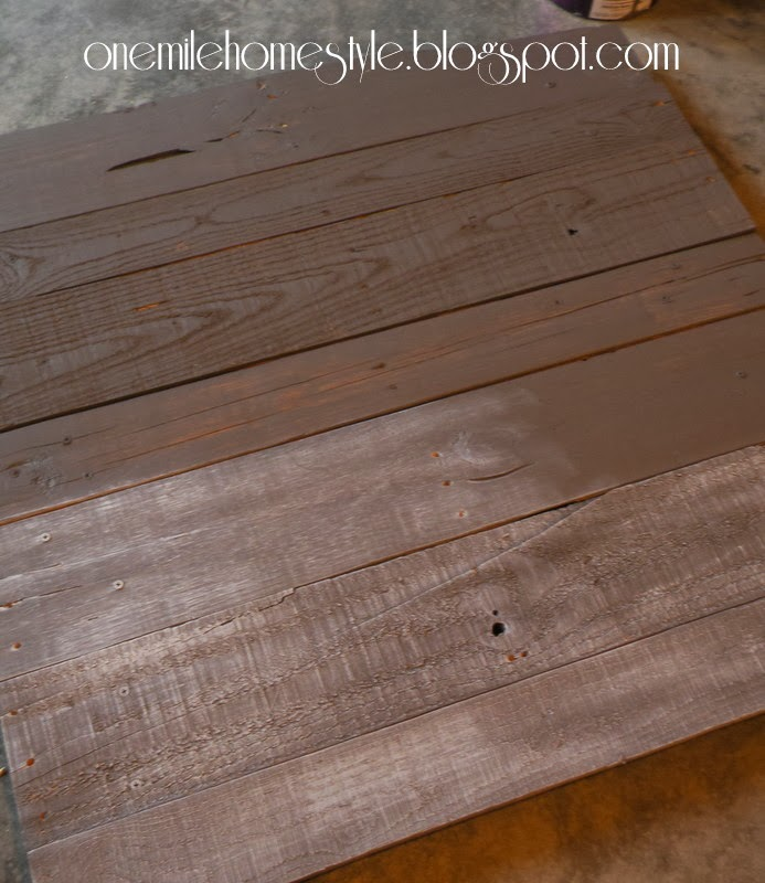 Reclaimed pallet wood painted grey and white washed