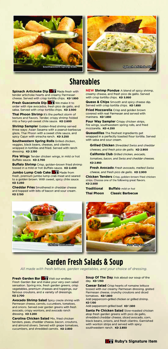 Ruby Tuesday Kuwait Home Delivery Menu Ruby Tuesday Kuwait
