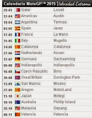 Calendarios 2015 motogp