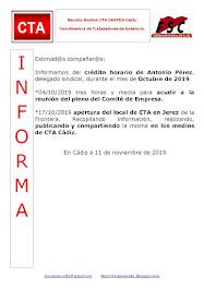 C.T.A. INFORMA CRÉDITO HORARIO ANTONIO PÉREZ, OCTUBRE 2019