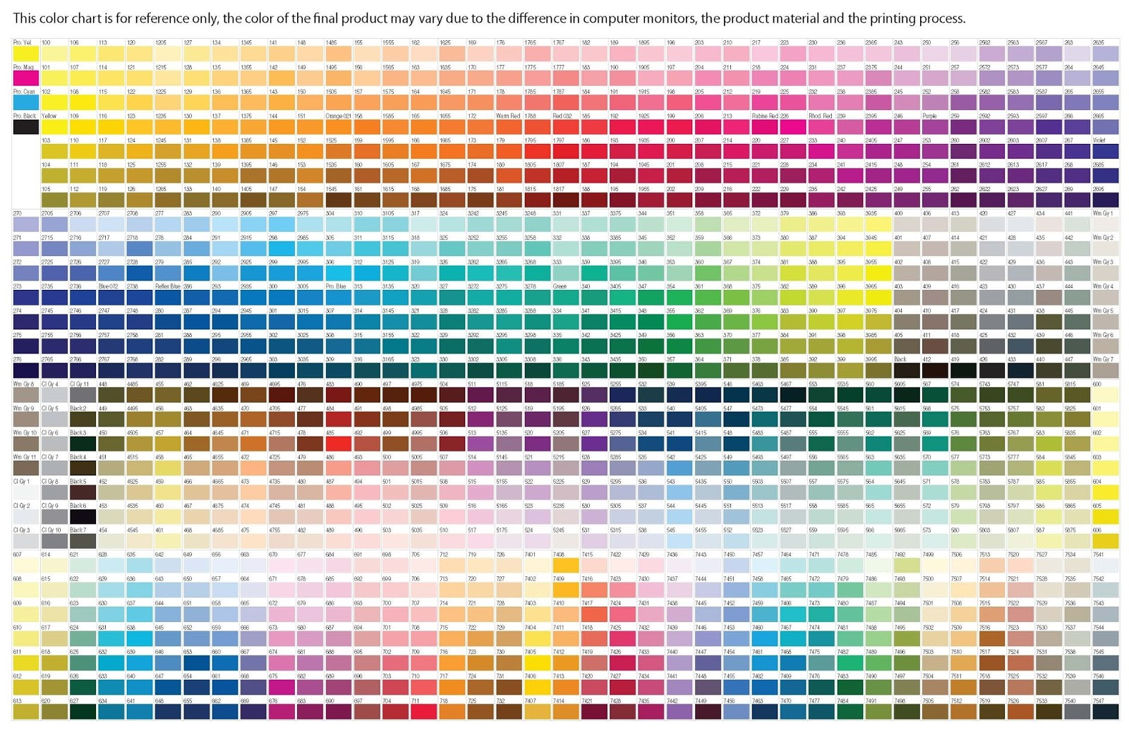 pantone color chart all colors