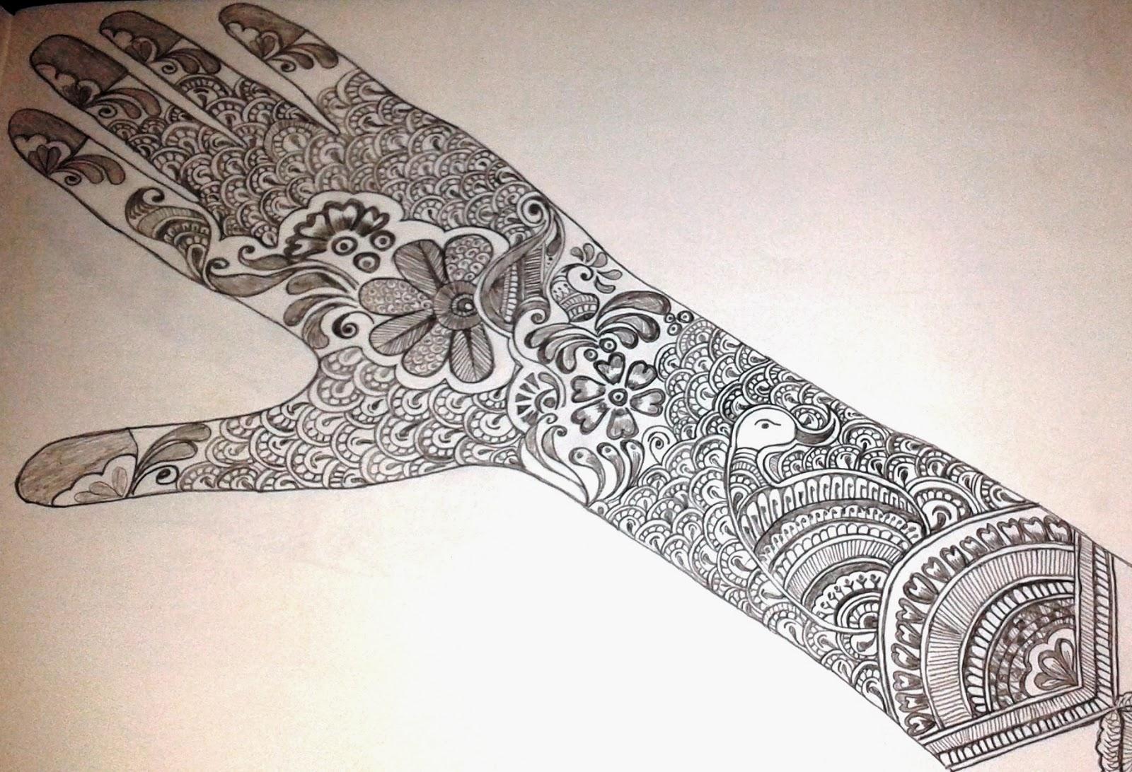 Dulhan Mehndi Designs For Full Hands 2014 : Reet mehandi full hand flower dulhan