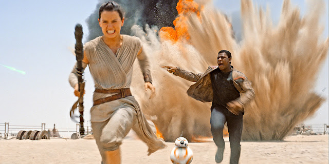 "Daisy Ridley and John Boyega in ""Star Wars: Episode VII -- The Force Awakens"""