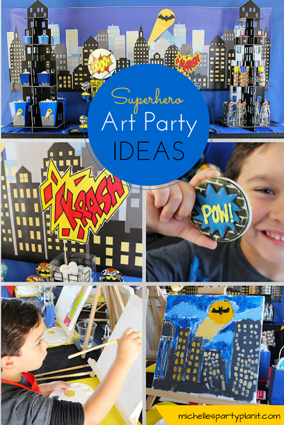 crime fighter, action hero, batman, painting party, kids party