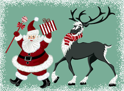 Ilustración de Santa Claus y su reno