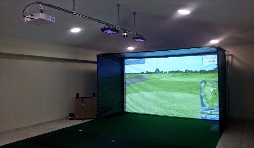 Sports coach blog gps golf simulator installed in cyprus for Golf simulator room dimensions