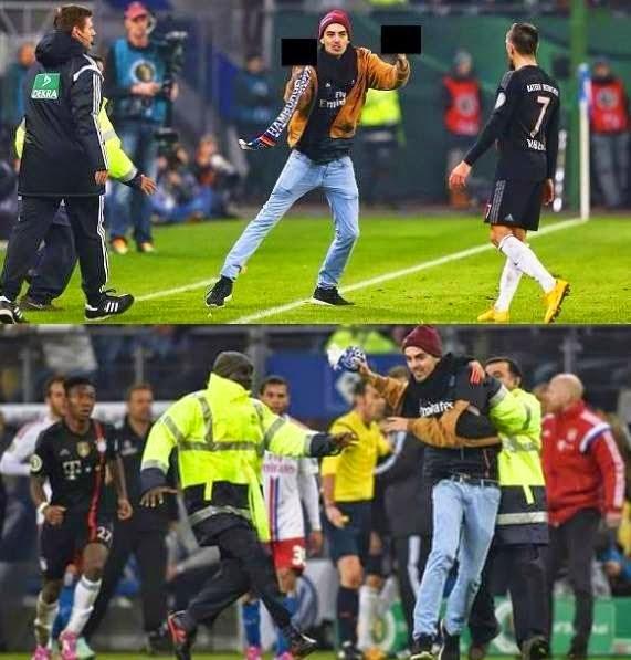 بالفيديو: مشجع مجنون يقتحم الملعب ويعتدي على النجم فرانك ريبيري.
