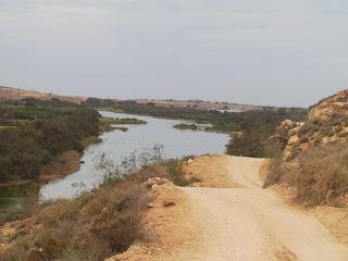 Met een beetje geluk belanden we tegen de schemering bij een ingang van het park in Sidi Benzarne.