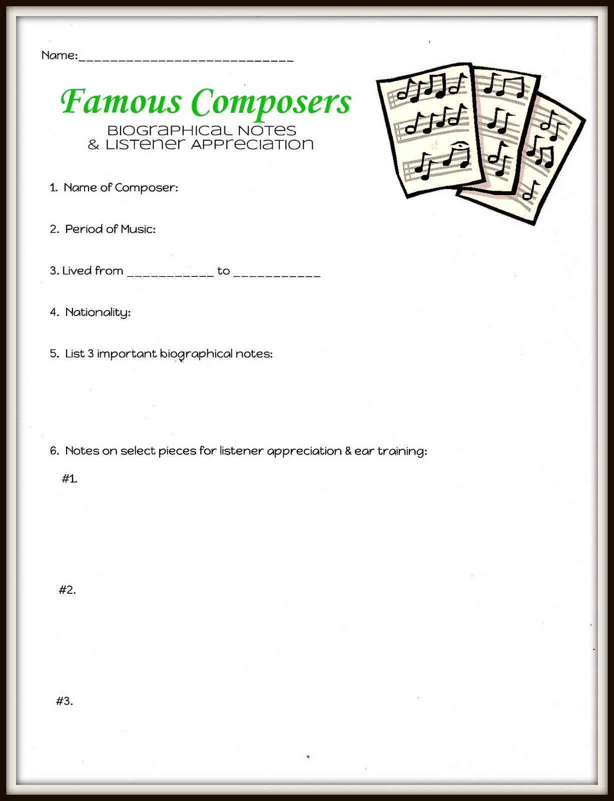 Sole Searching Mama Classical Composers Part II Listener – Composer Worksheets