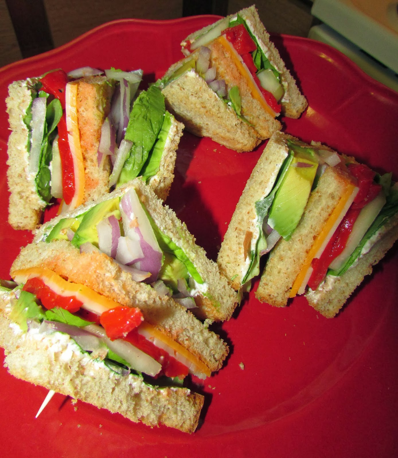 Veggie Club Sandwich. Jump to Recipe Print Recipe. I have been wanting to try an all vegetable sandwich for awhile now. I love how colorful it was and how the flavors complimented one another. I made an avocado mayonnaise using just Vegenaise and a ripe avocado. I must be honest this was what made the entire sandwich come together.