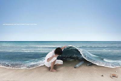 Just because you do not see it does not mean it is not there, believe, child holding the sea up, garbage problem, pollution, save the earth