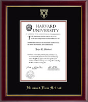 Photo image of framed Harvard Law diploma