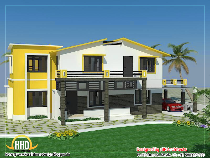exterior collections kerala home design 3d views of residential bangalows