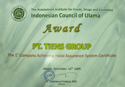 sertifikat, halal, mui, tiens, peninggi badan, kalsium, nhcp, zinc, spirulina
