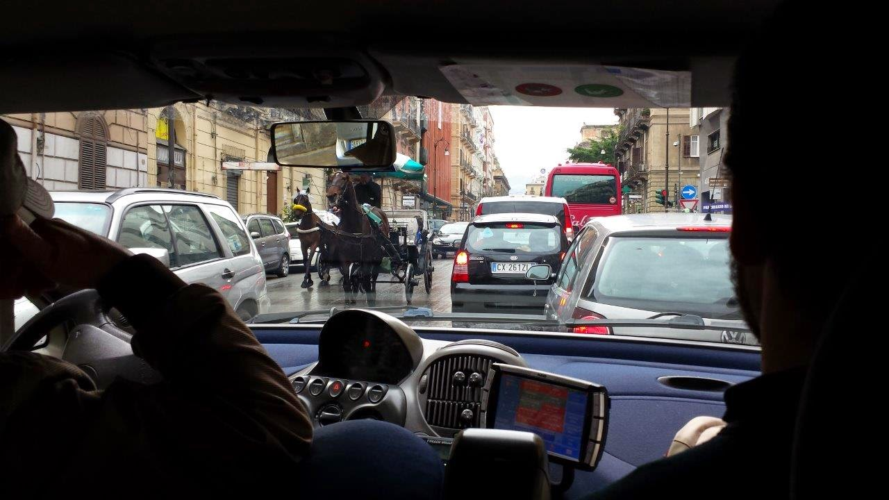 Driving in Palermo Sicility Italy.