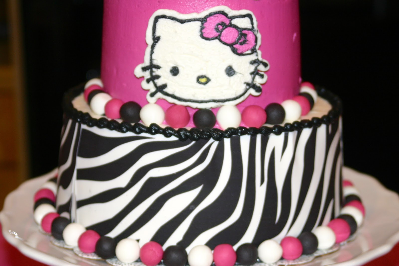 behold the hello kitty hot pink zebra striped baby shower cake