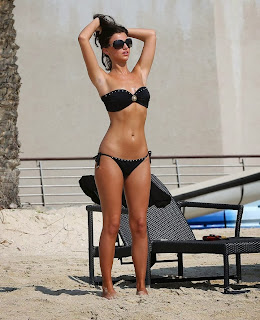 Lucy Mecklenburg Candids Sexy Black Studded sultry two piece bandeau bikini in Dubai