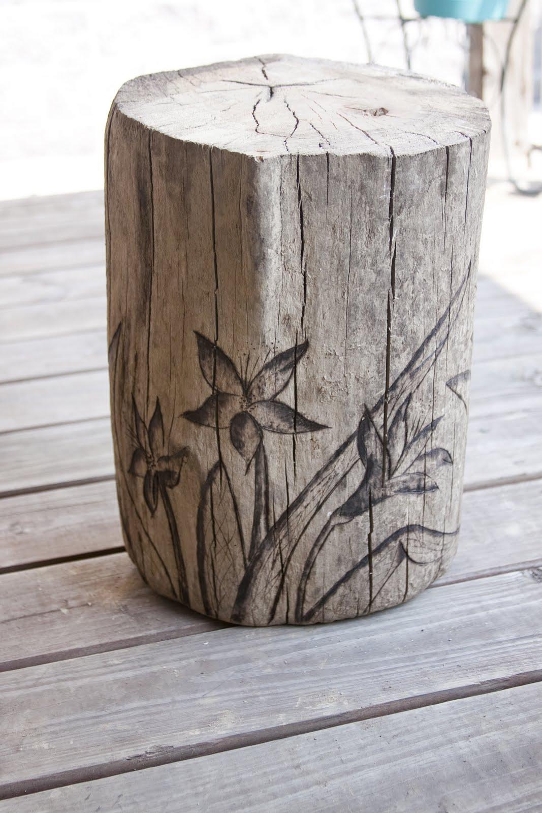 Bellawillow Shop Blog Driftwood Lily Garden Stump Stool