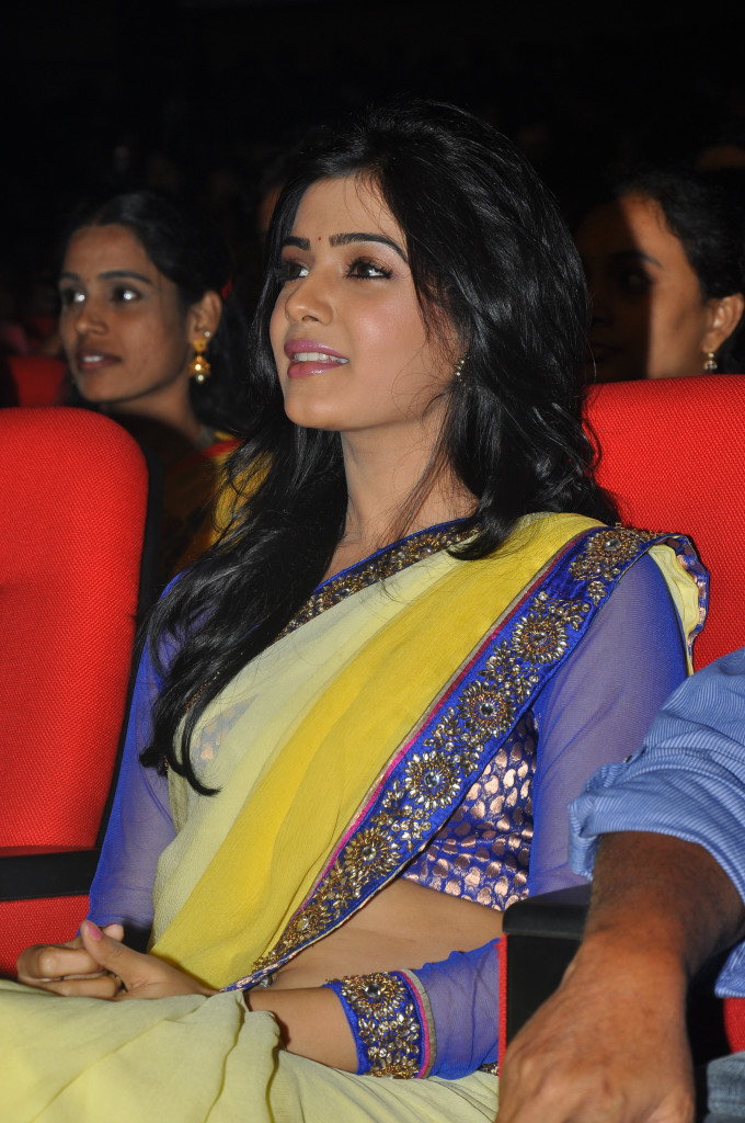 samantha saree at dookudu audio launch, samantha spicy saree glamour  images