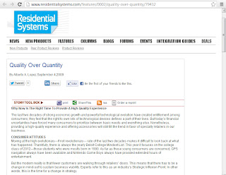 Screen shot image of Residential Systems Magazine's website on the page where Alberto A Lopez's article is hosted
