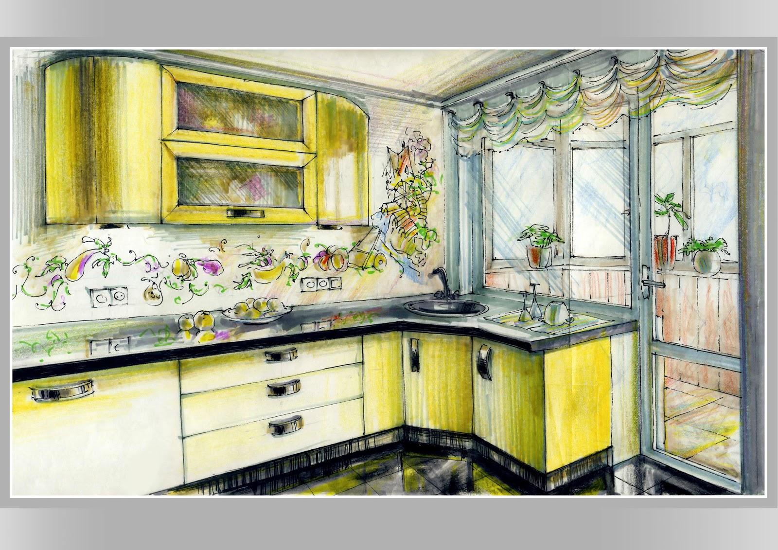 Дизайн кухни с рисунком