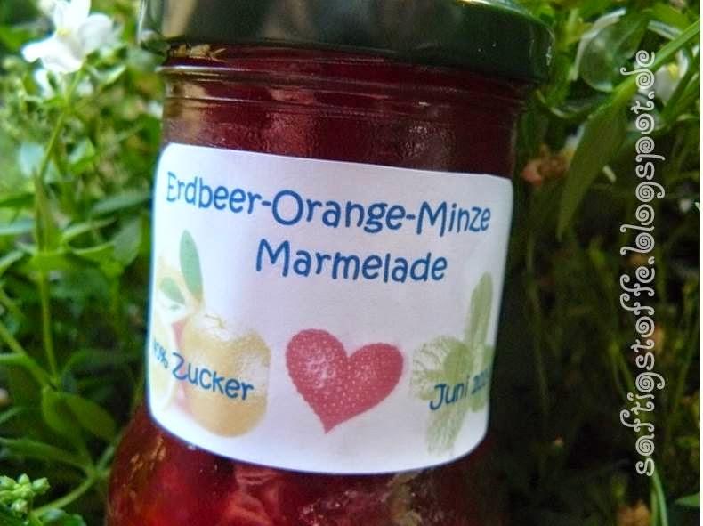 Erdbeer-Orangen-Minz-Marmelade, selbst gemacht