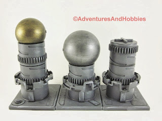 Industrial terrain pieces for 25mm to 28mm science fiction war games - Set 3