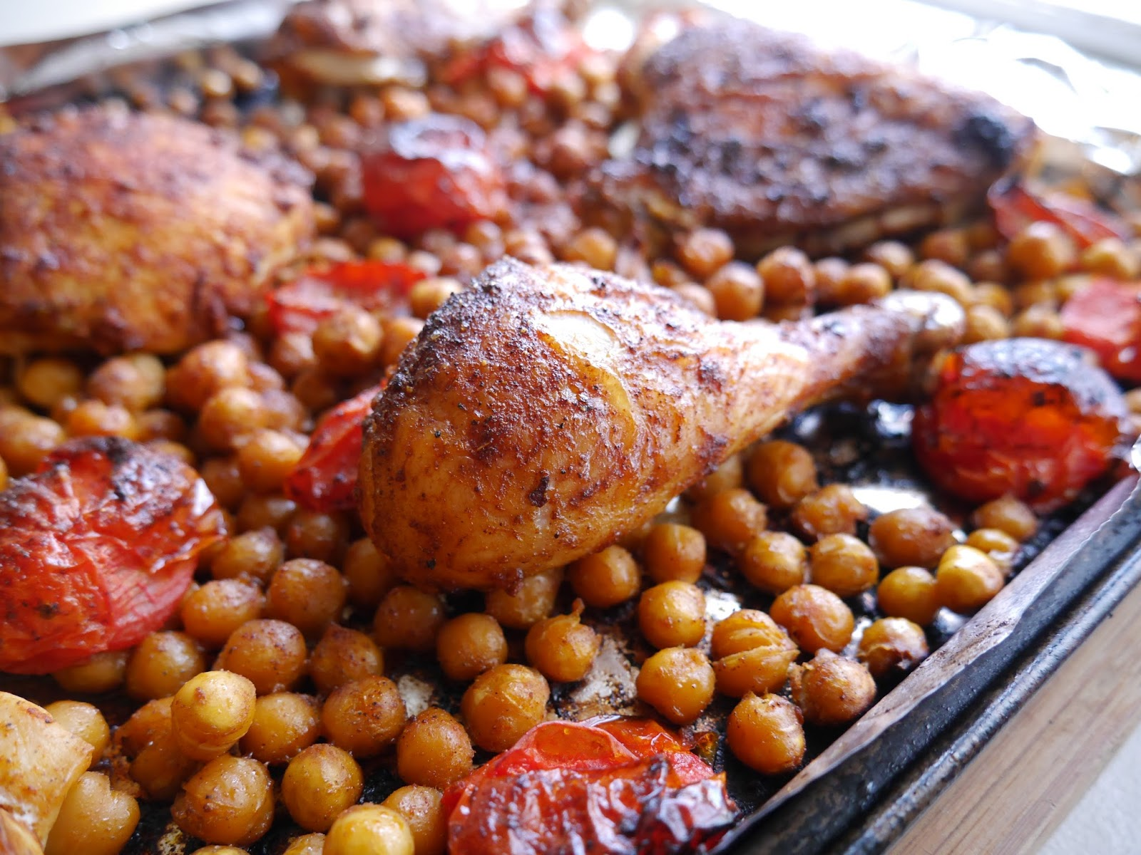 Roasted Chicken with Chickpeas and Tomatoes