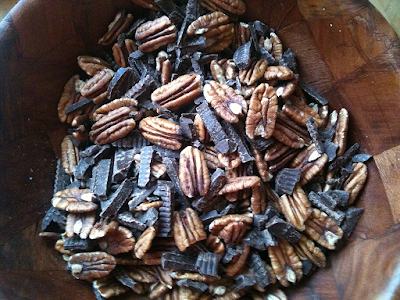 Chocolate and pecans for Chocolate Pecan Pie