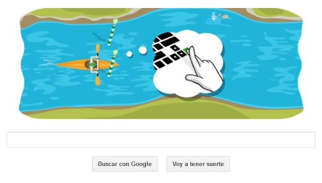 Google te invita a remar en rio con su doodle en honor al canotaje de slalom
