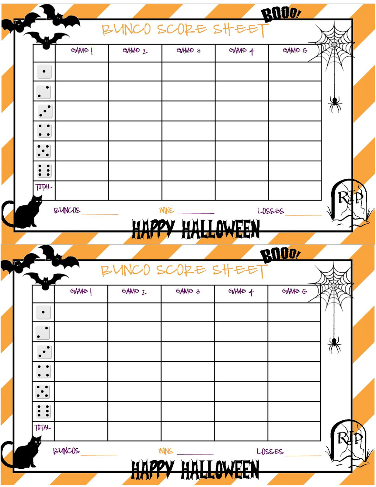 picture about Cute Bunco Score Sheets Printable known as Recipes against Stephanie: Halloween Bunco Sheet