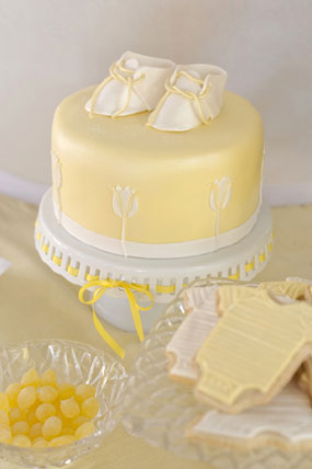 this baby shower cake is they brought in the yellow with the cake