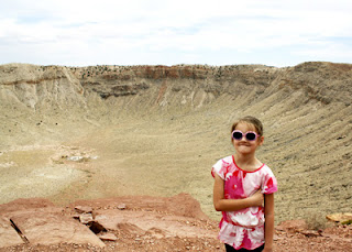 "Tessa at Meteor Crater, the best preserved crater on Earth. We arrived at just the right time to take a ""free"" guided tour along the rim given by the head guide. It was very enjoyable!"