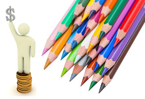 Vender diseño gráfico: lápices de colores con muñeco sobre monedas sosteniendo un dolar