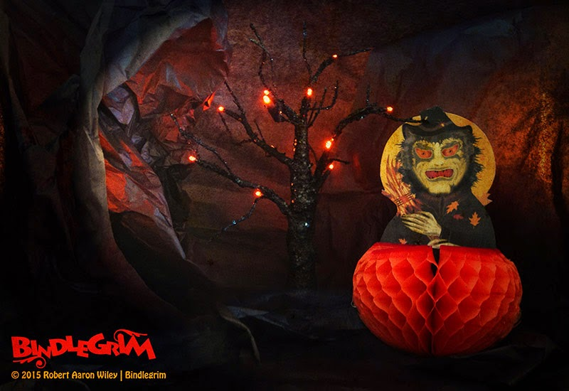 Dark cave entrance and haunted tree set scene for Halloween decoration of witch on honeycomb base by Bindlegrim new for 2015