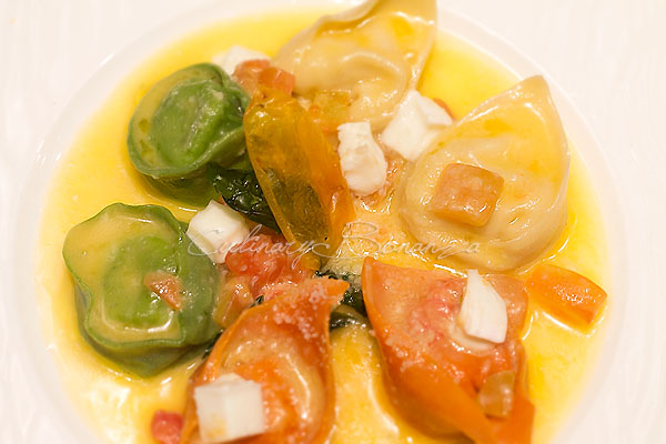 Trilogy of Ravioli, Tortelli & Cappelletti filled with meat, cheese, vegetables, warm mozzarella & tomato compote